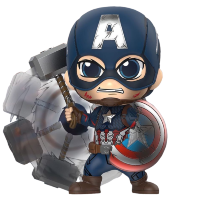 "Avengers 4: Endgame - Captain America Battling Cosbaby 3.75"" Hot Toys Bobble-Head Figure"